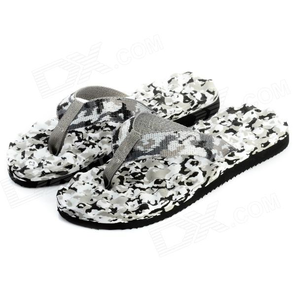 Comfortable PVC + EVA Men's Massage Beach Flip-Flop - White + Light Camouflage Grey