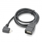 CY U2-053-LE-0.8M 90 Degree Left Angle Micro USB OTG Host Cable for Samsung i9500 - Black (80 CM)