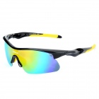 NBIKE 9366-4 Cool Outdoor Cycling UV Protection Polarized Revo Lens Sunglasses - Black + Yellow