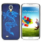 Protective 3D Dragon Pattern Back Case for Samsung Galaxy S4 - Black + Blue