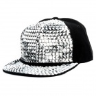 Shiny Hip-Hop Style Canvas Cap Hat - Silver + Black