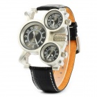 Cute PU Leather Band Quartz Wrist Watch - Silver + Black (2 x SR626SW)