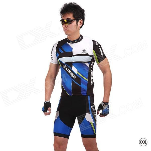 LAMBO HY88 Men's Outdoor Cycling Functional Fabric Shorts - Blue + Black (Size XXXL)