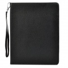 Lychee Pattern Protective PU Leather Case w/ Strap / Card Holder for Ipad 2 / 3 / 4 - Black + White