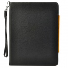 Lychee Pattern Protective PU Leather Case w/ Strap / Card Holder for iPad 2 / 3 / 4 - Black + Orange