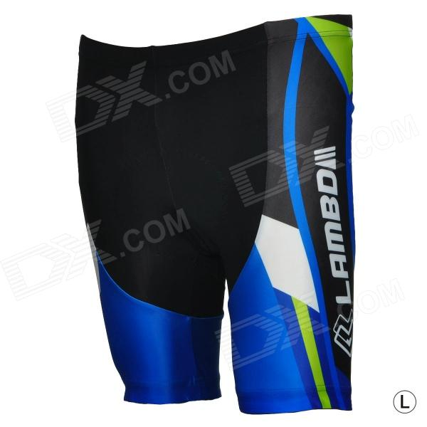 LAMBO HY88 Men's Outdoor Cycling Functional Fabric Shorts - Blue + Black (Size L)