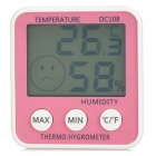 "DC108 3.0"" LCD Thermometer & Hygrometer w/ Magnetic Button & Holder - Pink + White (1 x AAA)"