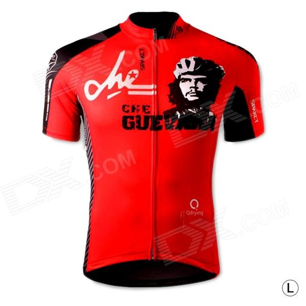 цены  Spakct S13C02 Fashion Cycling Round Collar Polyester Short Sleeve Coat - Black + Red (Size L)