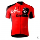 Spakct S13C02 Fashion Cycling Round Collar Polyester Short Sleeve Coat - Black + Red (Size L)