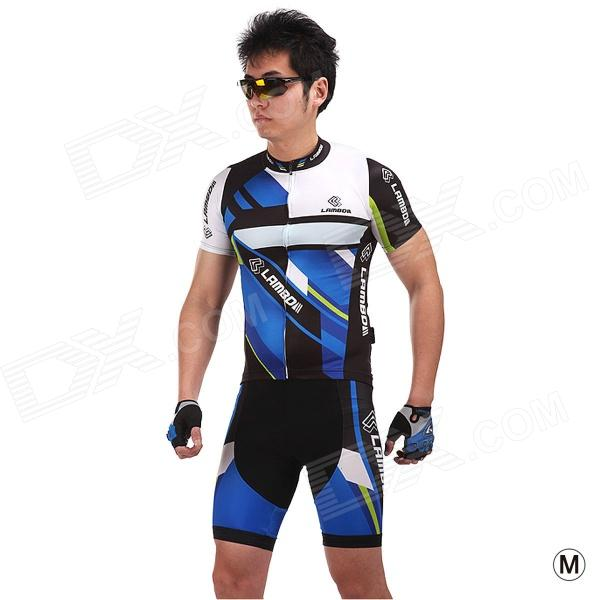 LAMBO HY88 Men's Outdoor Cycling Functional Fabric Shorts - Blue + Black (Size M)