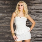 LC2824-1 Sexy Rivets-embellished Bustline Peplum Dress - White   (Size L)