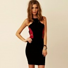 Fashionable Bodycon Red Montage Black Mini Dress - Black + Red ( Size L )