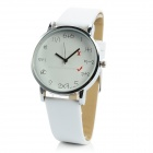 Creative Student Style PU Leather Band Quartz Wrist Watch - White (1 x 626)