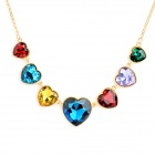 Fashion Shiny Heart Shaped Crystals Gold Plating Zinc Alloy Necklace - Multicolor