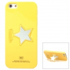 Protective Plastic Back Case w/ Five-Pointed Star Design Stand Holder for Iphone 5 - Yellow