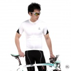 LAMBO XYDG Men's Yarn + Fabric Outdoor Cycling Short-sleeve Coat - Black + White (Size XXL)