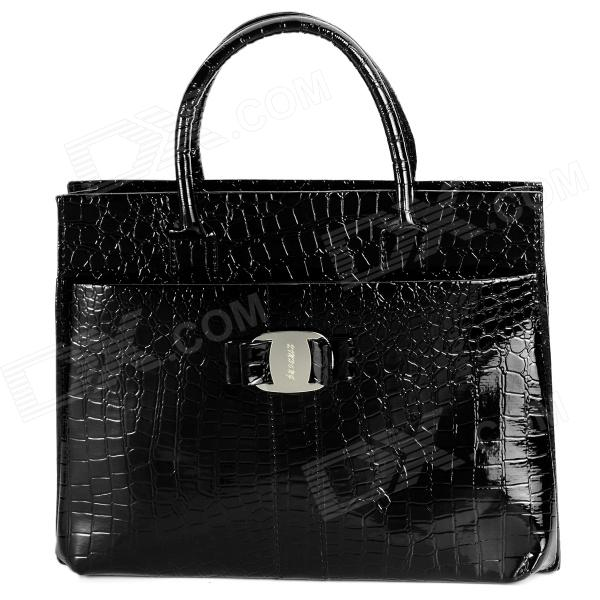 B-162 Snake Skin Pattern Retro PU Leather Handbag for Women - Black