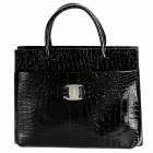Snake Skin Pattern Retro PU Leather Handbag for Women - Black