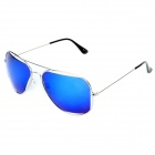 CARSHIRO S346 Fashionable Men's UV400 Protection Aviator Sunglasses - Silver + Grey REVO Blue