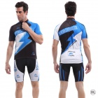 Veobike Men's Cycling Polyester Short Sleeve Coat + Shorts Suit - Black + Blue + White (Size XXL)