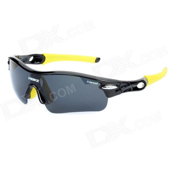 NBIKE 9311-2 Cool Outdoor Cycling UV Protection Polarized Resin Lens Sunglasses - Black + Yellow clip on uv400 protection resin lens attachment sunglasses small