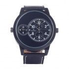 Super Speed  V0171 Leather Band Quartz Analog Men's Wrist Watch w/ 3 Dials - Black (1 x LR626)