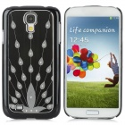 Protective Metal Wiredrawing Peacock Back Case for Samsung Galaxy S4 / i9500 - Black