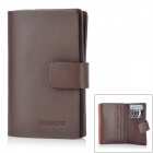 350049-05 Multifunction Soft Cow Leather Keys Name Card Holder Wallet w/ Slots - Brown