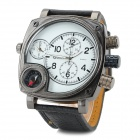 Fashion Hiphop Style PU Leather Band Big Quartz Watch for Men - Grey + White + Black (2 x SR626SW)