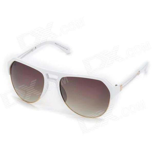 LANGTEMENG 58163C1 Fashionable UV400 Protection Resin Gradual Grey Lens Sunglasses - White fashion women s resin lens uv400 protection sunglasses grey white