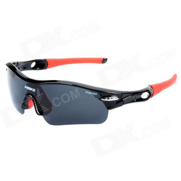 NBIKE 9311-1 Cool Outdoor Cycling UV Protection Polarized Lens Sunglasses - Black + Red + Grey retro women sunglasses polarized driving sun glasses with pc metal hinge shades uv400 protection gafas de sol mujer 4 colors