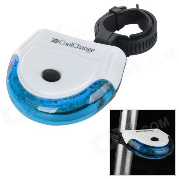 Coolchange Waterproof PC Bicycle 3-Mode 5-LED Tail Warning Lamp w/ Holder - Blue + White (2 x AAA)