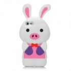 Cute Cartoon Rabbit Pig Style Protective Soft Silicone Back Case for Iphone 5 - White