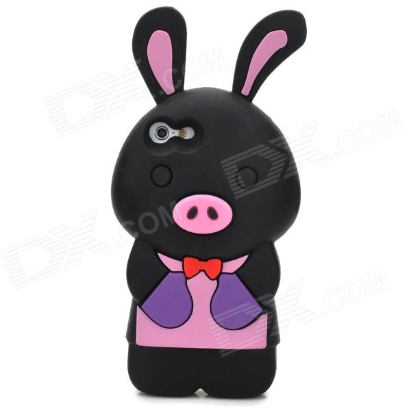 Cute Cartoon Rabbit Pig Style Protective Soft Silicone Back Case for Iphone 5 - Black baby girl s comfy cute cartoon pig style hand knitted warm gorro hat pink black
