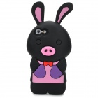 Cute Cartoon Rabbit Pig Style Protective Soft Silicone Back Case for Iphone 5 - Black