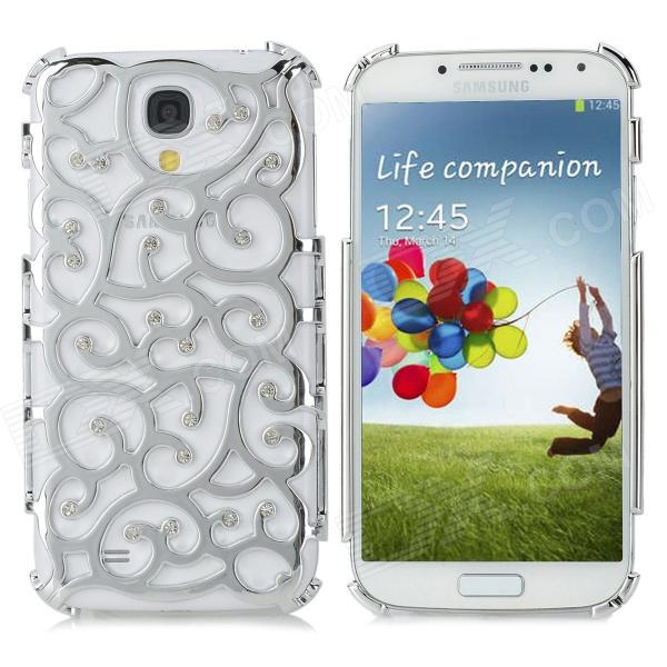 Palace Flower Pattern Rhinestone Decoration Plastic Back Case for Samsung Galaxy S4 / i9500 - Silver