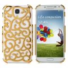 Palace Flower Rhinestone Decoration Plastic Back Case for Samsung Galaxy S4 / i9500 - Golden
