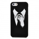 Stylish Suit & Tie Gentleman Pattern Protective Plastic Back Case for Iphone 5 - Black + White