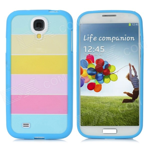 Protective PC+PVC Rainbow Back Case for Samsung Galaxy S4 / i9500 - Blue