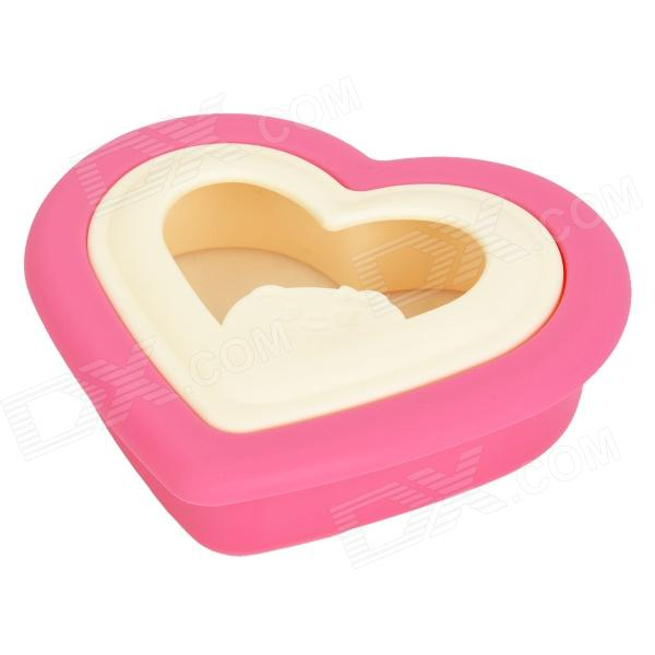 DIY Mini Heart Shape Sandwich Bread Maker Mould - Deep Pink + Beige