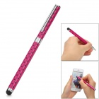 RHY-22 2-in-1 Universal Polka Dot Stainless Steel Capacitive Screen Stylus + Ballpoint Pen - Rosy
