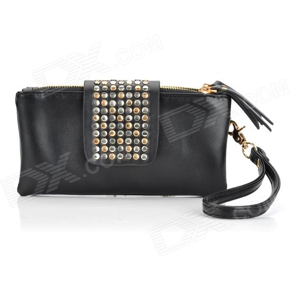 PU Leather Long Hand Bag Wallet for Women - Black