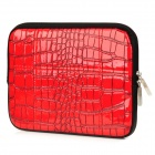 Alligator Pattern Fashion PU Leather Sleeve Stand Bag w/ Zipper for Ipad 1 / 2 / 3 - Red
