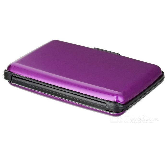 Stylish Water Resistant Aluminum + Plastic Storage Case for Credit Card / Name Card - Purple + Black
