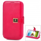 Protective PU Leather Case w/ Card Slot for Samsung Galaxy S4 - Deep Pink