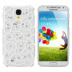 Fashion Hollow Out Flower Pattern Back Case w/ Crystal for Samsung Galaxy S4 - White