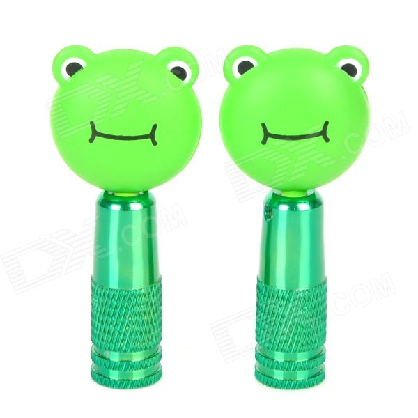 OQSPORT Frog Style Aluminum Alloy + Plastic Bicycle  Schrader Valve Decorative Cap - Green (2 PCS)