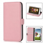 Protective PU Leather Flip Open Case w/ Card Slots for Samsung Galaxy S4 / i9500 - Pink + Grey