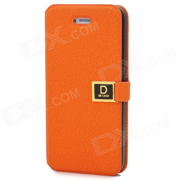 Classic Protective Flip-open PU Leather Case w/ Holder & Card Slot for Iphone 5 - Orange rhombus pattern protective flip open pu leather case w card holder for iphone 5 deep pink