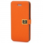 Classic Protective Flip-open PU Leather Case w/ Holder & Card Slot for Iphone 5 - Orange